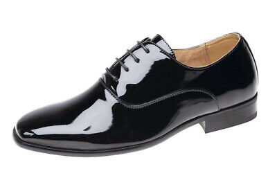 Boys Black Patent Leather Lined Lace Up Smart Formal Dress Wedding Shiny Shoes  Boys Black Patent Leather