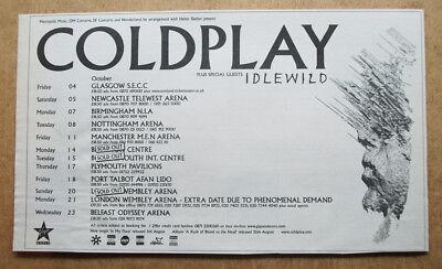 COLDPLAY - UK TOUR DATES - 2002  - ORIGINAL MUSIC ADVERT 25 x 16 cm