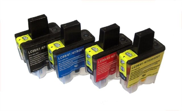4 Economy cartridges for Brother LC-900 per 16/25ml MFC,DCP -Series, C M Y BK