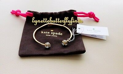 New Kate Spade New York Lady Marmalade Clear Crystal Open Cuff Bracelet Gold