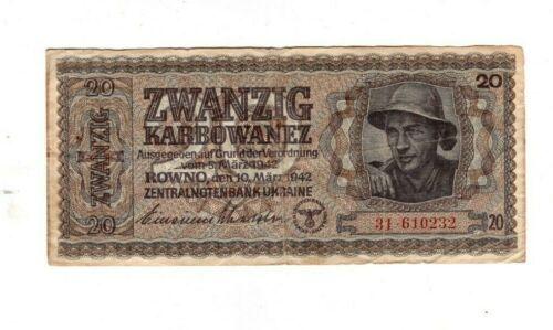 Genuine 20 Karbowanz 1942 WW II german occupation of Ukraine swastika fine c !!