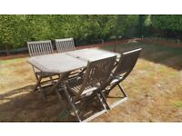 Wooden Garden Table & 4 Chairs, All Fold for Easy Storage