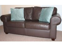 Beautiful Brown Leather Sofa and Armchaire Non Smoking and Pet Free Home