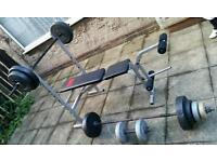 Fitness bench with weights