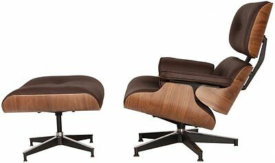 eMod Eames Style Lounge Chair & Ottoman Premium Reproduction Brown Walnut Premium Brown Leather Sofa