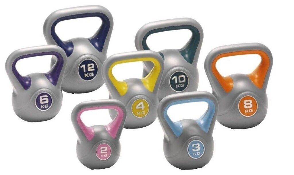 Vinyl Kettlebells Home Gym Training 2kg - 14kg Weight Fitness: Free DVD