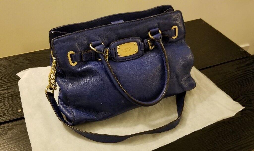 1c14dfe261d5 Michael Kors Hamilton Large East West Heritage Blue Leather Tote ...
