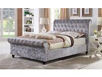Chesterfield Upholstered Sleigh Bed Frame