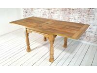 Extending Rustic Farmhouse Dining Table Drop Leaf Natural Finish - Folding, Ergonomic, Space Saving