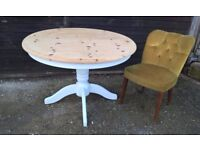 Solid Pine Round Extending Pedestal Dining Table ~ Vintage White *FREE DELIVERY* Shabby Chic