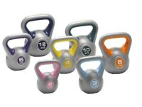 Vinyl Kettlebells Home Gym Training 2kg - 14kg Weight Fitness Kettlebell Free DVD: NEW