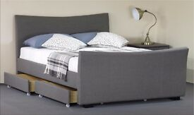 """Grey Fabric 4 Drawer Storage 4FT 6"""" Double Bed Frame"""