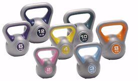 Vinyl Kettlebells 2kg - 14kg Home Gym Training Weight Fitness Kettlebell Free DVD: NEW
