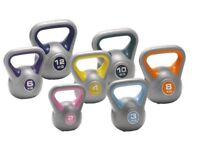Vinyl Kettlebells Home Gym Training 2kg - 14kg Weight Fitness: Free Workout DVD