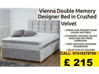 ***BRAND NEW SINGLE DOUBLE AND KINGSIZE CRUSH WELVET DIVAN BED***