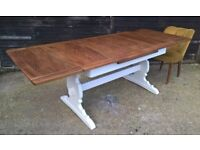 Ercol 7ft Draw Leaf Refectory Dining Table *FREE DELIVERY* Vintage Elm & White Shabby Chic(oak pine)