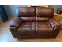 Leather recliner 2 seater couch