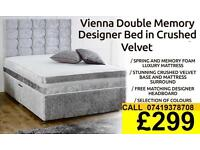 Amazing Offer CRUSH VELVET SINGLE DOUBLE KING SIZE MEMORY FOAM DESIGNER / Bedding