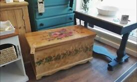 Hand Painted Wooden Blanket / Storage box