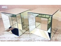 Luxury Mirror Cube Side Coffee End Tables x2 Excellent