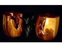 Ornamental wood art. Pair. Highly polished teak and copper display pieces.
