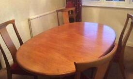 G Plan Fresco Teak Oval Extending Dining Table with 4 Chairs