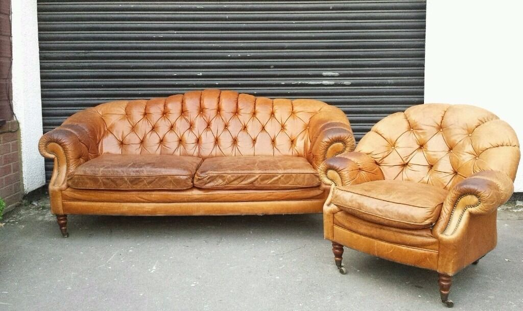 French Leather Sofa Chair Club Brown Queen Anne Cigar Antique Pair Chesterfield