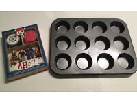12 Cup Muffin / Cupcake Tin (Used) + Pirate Themed Cupcake Decorations (Unopened)