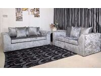 ***** HUGE DISCOUNT***** BRAND NEW DYLAN CRUSH VELVET 3+2 SOFA SET OR CORNER SOFA - BLACK - SILVER -