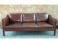 Danish vintage 1970's Borge Mogensen style three seater brown leather sofa