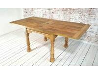 Extending Rustic Farmhouse Dining Table Drop Leaf Natural Finish - Folding, Ergonomic, Space Saving