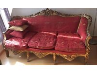 Elegant Italian Baroque sofa from 19th century and matching chair- rare occasion