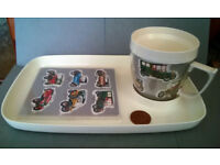 vintage melamine cup and tray set