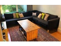 Corner Sofa with Rug and Solid Wood Coffee Table
