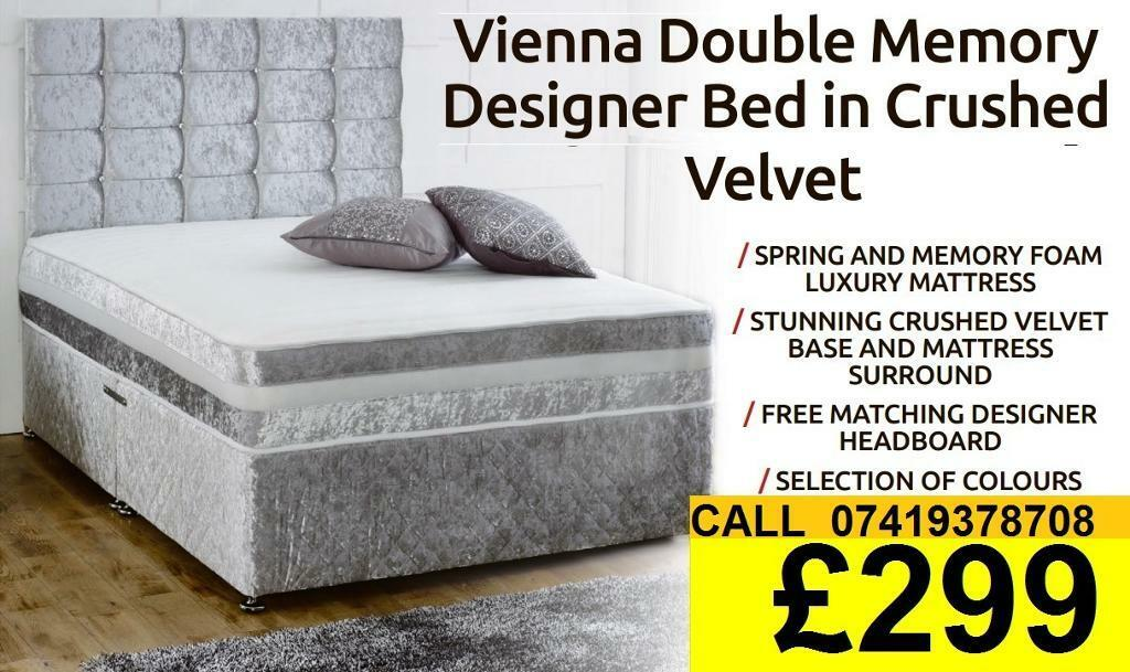 Amazing Offer CRUSH VELVET SINGLE DOUBLE KING SIZE MEMORY FOAM DESIGNERBeddingin Romford, LondonGumtree - SALE SALE SALE....EXTREME Quality Furniture like Divan and Leather Base available contact us