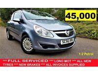 *** 45,000 miles *** SERVICED!!! 2007 Vauxhall Corsa 1.2 i 16v - HPI CLEAR, 10 MONTHS LIKE VW POLO