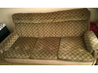 Free three seater brown fabric sofa