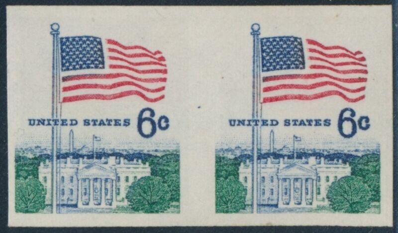 """#1338ab Imperf Pair Major Error 6¢ """"flag Over White House"""" Br1726"""