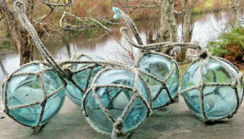 "Japanese Fishing Floats 4"" Blown Glass Lot-5 Aqua Netted Loop Handles Antiques!"