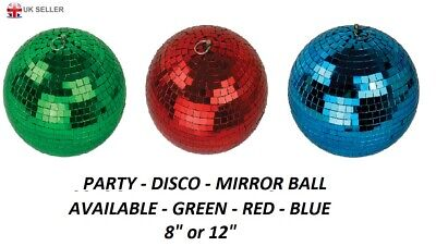 PARTY DISCO MIRROR BALL - GREEN ~ RED ~ BLUE  - 8
