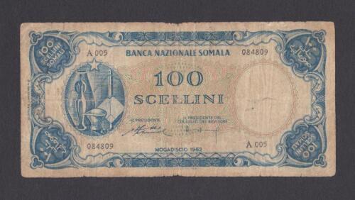 1962 SOMALIA  Banknote 100 Scellini VG P-5 Scarce Note