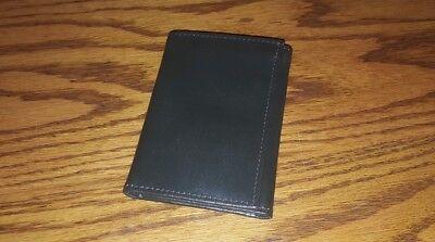 Vintage Meeker Dark Gray Tri-fold Top Grain Cowhide Leather Wallet, Excellent