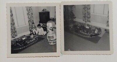 2 1950s VTG PHOTO Christmas Gift Joe Palooka Bop Toy Boys Lionel Train/Flyer Set