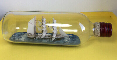 Vintage Ship In A Bottle Nautical Gift Sea Sailing Vessel Barque Sails
