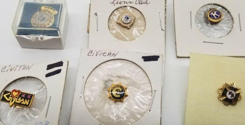 Lot of 6 pins tacks Kiwanis Civitan Lions  Masonic Knights Templar