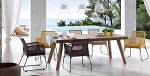 Superb Concrete Top & Hardwood Base Dining Table - Brand New