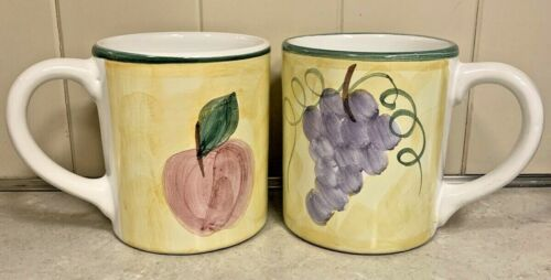(2) Caleca Frutta Coffee Mugs Cups Fruit Grapes Apple Yellow Background