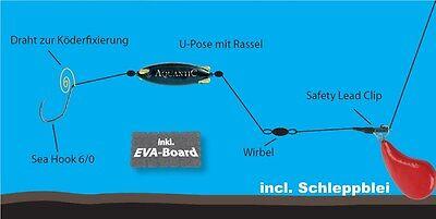 Seehecht , Heilbutt , Leng - Naturködervorfach Subfloat-Rig + 300g Schleppblei