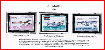 MICRONESIA 1984 AIRMAILS / PLANES MNH HYDROPLANES, AVIATION
