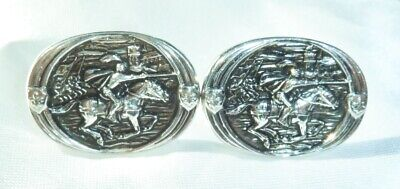 VINTAGE SILVERTONE *GAME OF THRONES* JOUSTING KNIGHT in ARMUR CUFF-LINKS  (Costumes In Game Of Thrones)